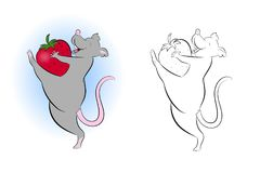 Grappige rat met aardbeien Stock Fotografie