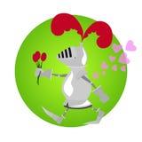 Grappige ridder met bloemen voor Valentine-dag Royalty-vrije Stock Afbeelding