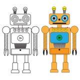 Grappige robot in vlakke stijl op witte achtergrond Stock Fotografie