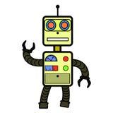 Grappige robot in vlakke stijl op witte achtergrond Stock Afbeeldingen