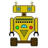 Grappige robot in vlakke stijl op witte achtergrond Royalty-vrije Stock Afbeeldingen