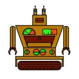 Grappige robot in vlakke stijl op witte achtergrond Stock Foto