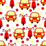 Grappige Rode Auto's en de Naadloze die Patronen van Motobikes op Wit worden geïsoleerd Royalty-vrije Stock Afbeeldingen