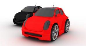 Grappige rode en zwarte auto op witte achtergrond Royalty-vrije Stock Afbeeldingen