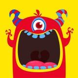 Grappige rode eyed gehoornd beeldverhaalmonster Grappig monster met wijd geopende mond De vectorillustratie van Halloween stock illustratie