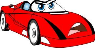 Grappige rode gekleurde beeldverhaalauto Stock Foto