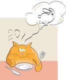 Grappige rode kat die van konijn droomt Stock Foto's