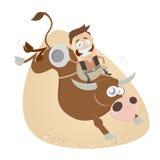 Grappige rodeo berijdende cowboy royalty-vrije illustratie