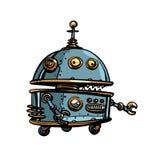 Grappige ronde robot, pop-art retro cyberpunk stock illustratie