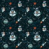 Grappige ruimte met sterren, grappige astronauten en spaceships naadloos patroon vector illustratie