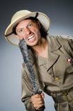 Grappige safarijager Royalty-vrije Stock Fotografie
