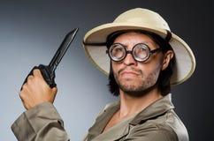 Grappige safarijager Stock Afbeelding