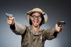 Grappige safarijager Stock Foto