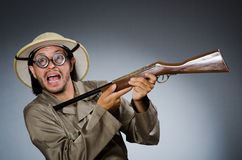 Grappige safarijager Stock Fotografie