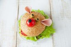 Grappige sandwich voor kind Stock Foto