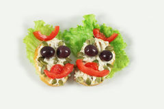 Grappige sandwiches Stock Afbeelding