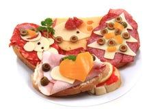 Grappige sandwiches voor kinderen Stock Foto's
