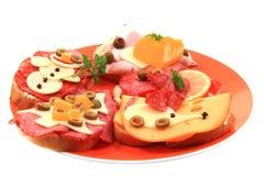 Grappige sandwiches voor kinderen Royalty-vrije Stock Afbeeldingen