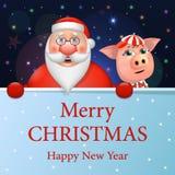 Grappige Santa Claus en een varken, een gelukkig Nieuwjaar en Vrolijke Kerstmis Vector illustratie vector illustratie