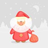 Grappige Santa Claus en magisch landschap Stock Afbeeldingen