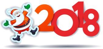 Grappige Santa Claus en tekst, Nieuwjaarillustratie Stock Afbeeldingen