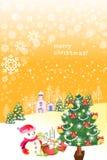 Grappige santasneeuwman op de sneeuwachtergrond - Creatieve illustratie eps10 Royalty-vrije Stock Fotografie
