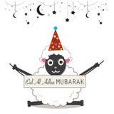 Grappige schapen Islamitisch Festival van Offer Eid Al-van de adhaviering en groet kaart Stock Afbeelding
