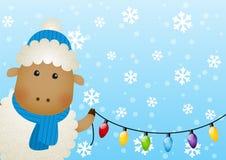 Grappige schapen met gloeilampen Royalty-vrije Stock Afbeelding
