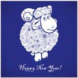 Grappige schapen op blauwe achtergrond Stock Afbeeldingen