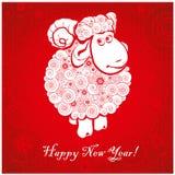 Grappige schapen op heldere rode achtergrond 2 Royalty-vrije Stock Fotografie