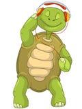 Grappige Schildpad die aan Muziek luistert. Stock Afbeelding