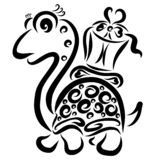 Grappige schildpad die een gift op zijn rug dragen stock illustratie
