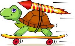 Grappige schildpad met raket Royalty-vrije Stock Afbeelding