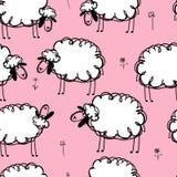 Grappige sheeps op weide, naadloos patroon voor uw Royalty-vrije Stock Foto
