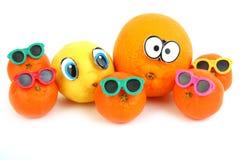 Grappige sinaasappel, citroen, mandarins Stock Fotografie