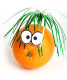Grappige sinaasappel met ogen Stock Afbeelding