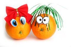 Grappige sinaasappelen met ogen Stock Afbeelding