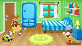 Grappige slaapkamer met speelgoed stock illustratie