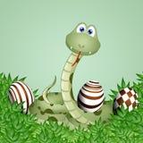 Grappige slang met chocoladepaaseieren vector illustratie