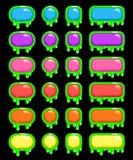 Grappige slijmerige kleurrijke geplaatste knopen Stock Foto's