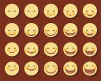 Grappige Smiley, glimlacht, lach, droevig lachen, kleur, vlak Royalty-vrije Stock Fotografie