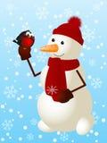 Grappige sneeuwman Stock Foto's