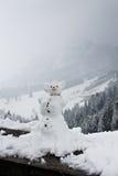 Grappige sneeuwman in bergen stock afbeeldingen