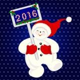 Grappige sneeuwman die voor vreugde, Kerstmisbanner springen Royalty-vrije Stock Afbeeldingen