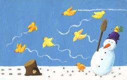 Grappige sneeuwman en gele vogel Royalty-vrije Stock Fotografie