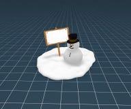 Sneeuwman en leeg teken Stock Foto