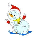 Grappige sneeuwmanskiër Het karakter van de nieuwjaarsneeuwman Royalty-vrije Stock Foto's