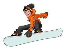 Grappige snowboarder Stock Afbeeldingen