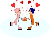 Grappige stokcijfers in liefde op ijs voor valentijnskaart` s dag Royalty-vrije Stock Foto's