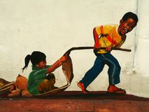 Grappige straatkunst in Malacca Melaka, Maleisië royalty-vrije stock fotografie
